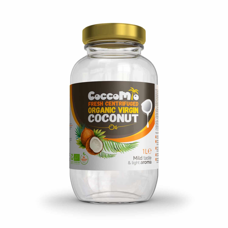 Olio di cocco vergine biologico centrifugato fresco 1l coccomio - Olio di cocco cucina ...